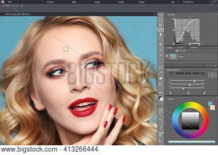 Professional Photo Editor Application. Image Of Beautiful Woman