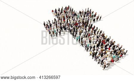 Concept or conceptual large community  of people forming the image of a religious christian cross. A 3d illustration metaphor for God, Christ, religion, spirituality, prayer, Jesus or belief