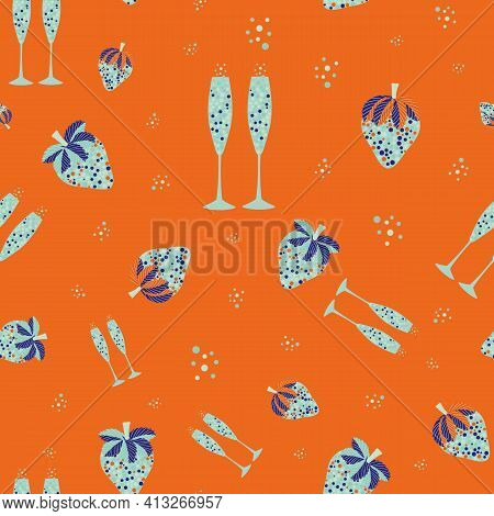 Abstract Champagne And Strawberry Vector Seamless Pattern Background. Neon Orange Light Blue Backdro