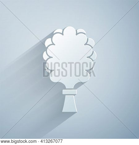 Paper Cut Sauna Broom Icon Isolated On Grey Background. Broom From Birch Twigs, Branches For Russian