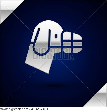 Silver Dog In Muzzle Icon Isolated On Dark Blue Background. Accessory For Dog. Vector