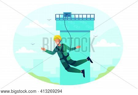 Happy Character Is Bungee Jumping From A Tower. Young Fearless Man Is Enjoing Jumping. Flat Vector I