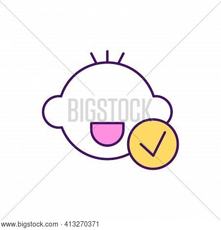 Baby Feeding Rgb Color Icon. Bottle-feeding. Showing For Hunger And Fullness. Breast-fed Infant. Pre
