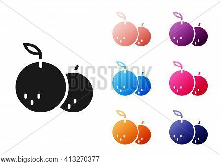Black Tangerine Icon Isolated On White Background. Merry Christmas And Happy New Year. Set Icons Col