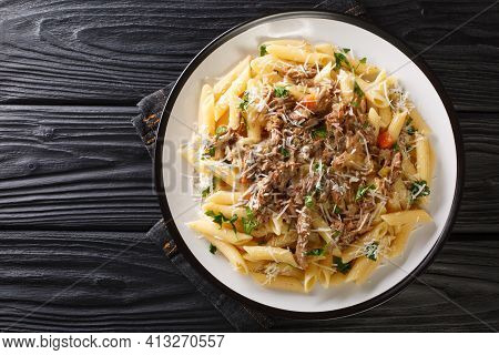 Penne Pasta With Slowly Cooked Onion-based La Genovese Napoletana Sauce With Beef, Wine And Vegetabl