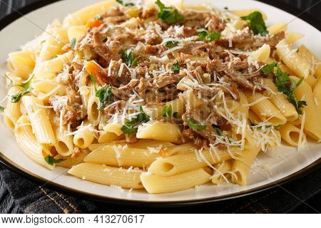 Pasta Alla Genovese Penne With Neapolitan Beef And Onion Sauce Close Up In The Plate On The Table. H