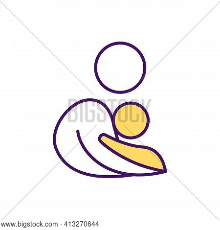 Maternal Bond Rgb Color Icon. Relationship Between Baby And Mother. Holding Infant For Chest-to-ches