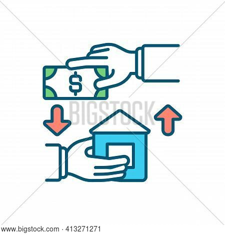 Lien On House Rgb Color Icon. Rental Income. Claim On Residential Property. Apartment Renting. Legal