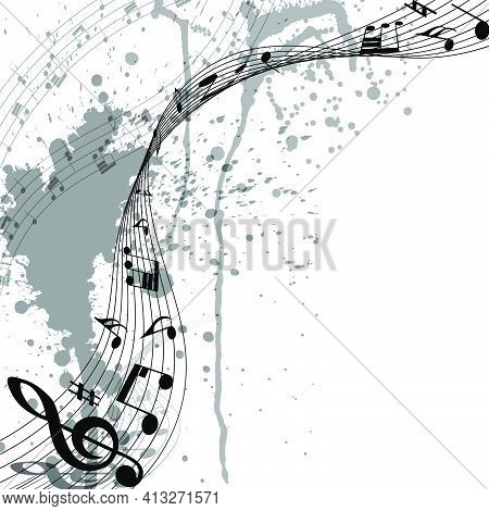 Musical Design From Music Staff Elements With Treble Clef And Notes On Trasparent Grunge Background