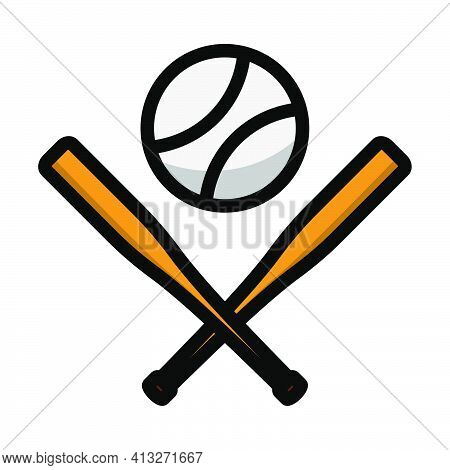 Baseball Crossed Buts And Ball Icon. Editable Thick Outline With Color Fill Design. Vector Illustrat