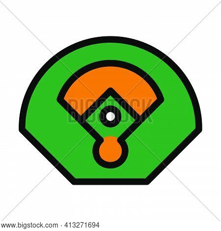 Baseball Field Aerial View Icon. Editable Thick Outline With Color Fill Design. Vector Illustration.