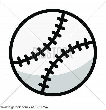 Baseball Ball Icon. Editable Thick Outline With Color Fill Design. Vector Illustration.