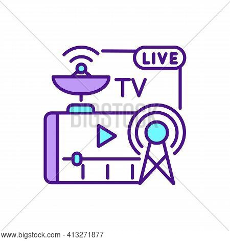 Tv Streaming Services Rgb Color Icon. Digital Television. Cable, Satellite Television Platforms. Cit