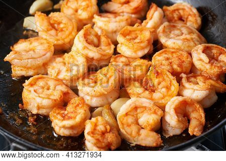 Keto Meal Fried Shrimp For Ketogenic Diet, Preparing Sauce For Pasta, Seafood Prawn Sizzling In Tefl