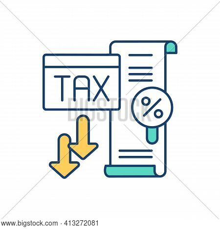 Low Tax Rate Rgb Color Icon. Maintaining Assets. Income Percentage. Report About Profits And Losses.