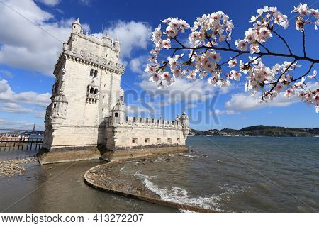 Spring In Portugal. Spring Time Cherry Blossoms In Lisbon, Portugal. Belem Tower.