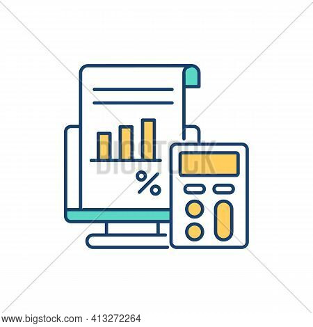 Calculating Financial Risk Rgb Color Icon. Measuring Company Interest Expense. Bankruptcy Risk Calcu