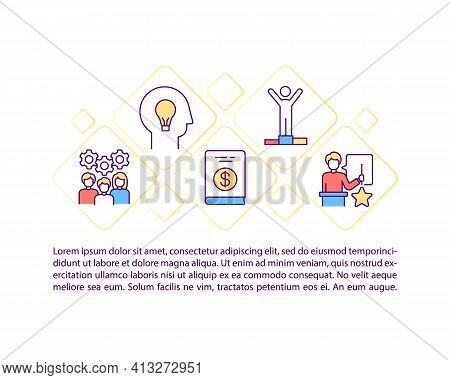 Motivational Content Concept Icon With Text. Speaker Spending Inspirational Conference. Ppt Page Vec