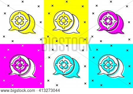Set Target Sport Icon Isolated On Color Background. Clean Target With Numbers For Shooting Range Or