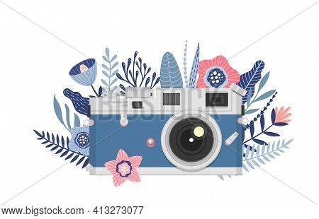 Camera With Flowers, Floral Camera Logo Design, Vector Illustration, Vintage Retro Camera Icon.