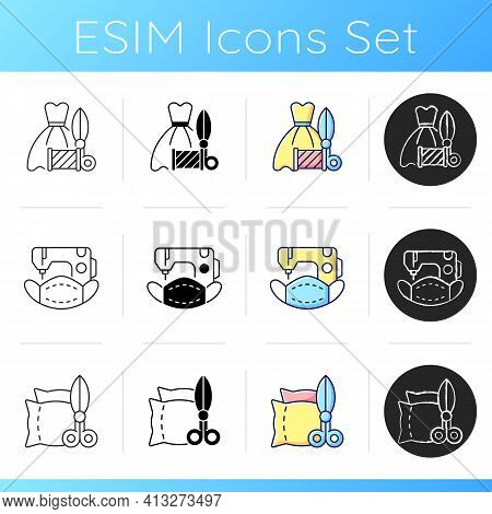 Clothes Repair Service Icons Set. Wedding And Prom Gown Alteration. Making Masks On Sewing Machines.