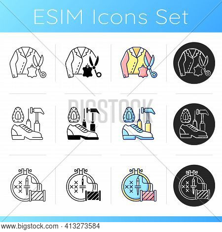 Clothing Alteration Icons Set. Leather And Suede Repair. Shoemaking Service, Emroidery Hobby, Cross