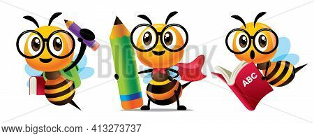 Bee Back To School Set. Cartoon Cute Bee Education Character Set. Cartoon Cute Bees Holding A Huge L