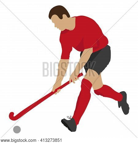 Field Hockey Player With Ball And Stick In Game. Sport Vector Illustration