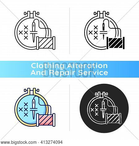 Embroidery Black Linear Icon. Cross Stitching. Needle With Thread And Spool. Hobby, Craftsmanship. C