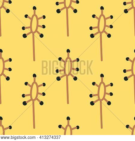 Abstract Yellow Seamless Pattern With Weird Plants