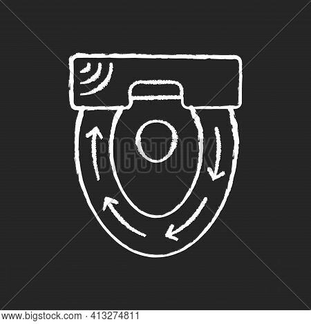 Automatic Toilet Seat Cover Chalk White Icon On Black Background. Sanitary Seat To Sit On Every Time