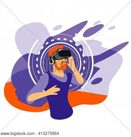 Bearded Man Wearing Virtual Reality Glasses. Colored Flat Illustration. Head Wearing Vr Glasses.