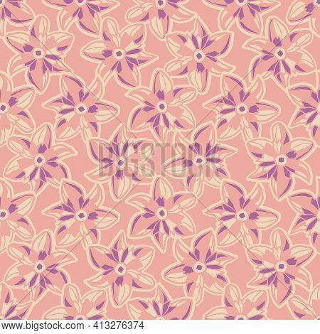 Vector Ecru Pink Purple Flowers Seamless Pattern