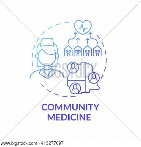 Community Medicine Blue Gradient Concept Icon. Public Healthcare Service. Therapist Assistance. Fami
