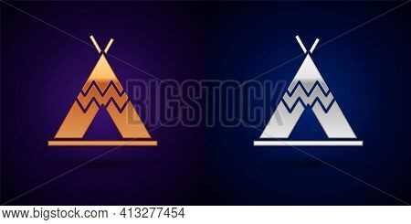 Gold And Silver Traditional Indian Teepee Or Wigwam Icon Isolated On Black Background. Indian Tent.