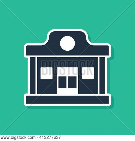 Blue Wild West Saloon Icon Isolated On Green Background. Old West Building. Vector