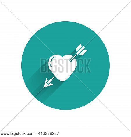 White Amour Symbol With Heart And Arrow Icon Isolated With Long Shadow. Love Sign. Valentines Symbol
