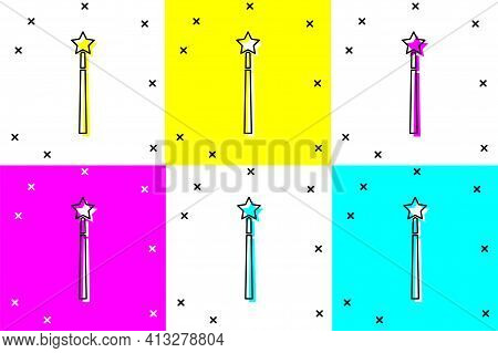 Set Magic Wand Icon Isolated On Color Background. Star Shape Magic Accessory. Magical Power. Vector