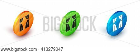Isometric Circus Curtain Raises Icon Isolated On White Background. For Theater Or Opera Scene Backdr