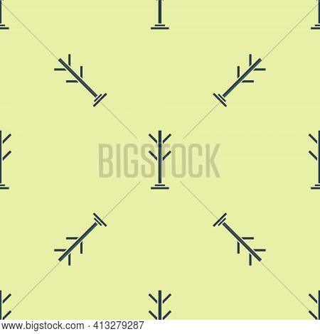 Blue Coat Stand Icon Isolated Seamless Pattern On Yellow Background. Vector
