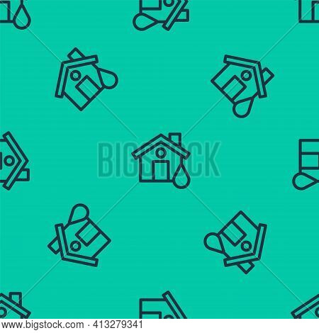 Blue Line House Flood Icon Isolated Seamless Pattern On Green Background. Home Flooding Under Water.