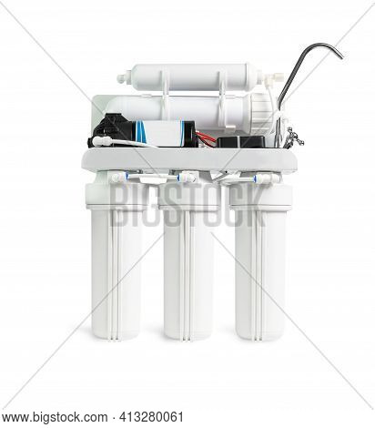 Ro Water Purifier Filter Isolation On A White Background With A Cliping Path.