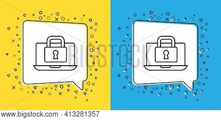 Set Line Laptop And Lock Icon Isolated On Yellow And Blue Background. Computer And Padlock. Security