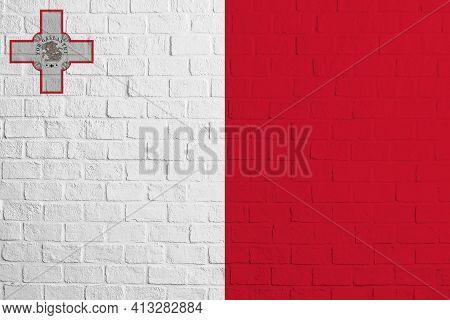 Flag Of Malta. Brick Wall Texture Of The Flag Of Malta.