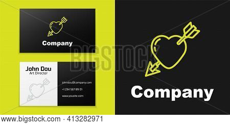 Logotype Line Amour Symbol With Heart And Arrow Icon Isolated On Black Background. Love Sign. Valent