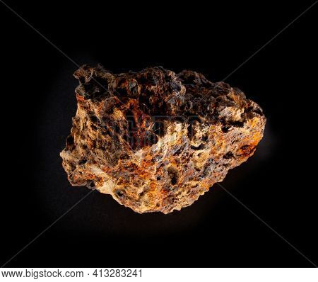 Swamp Bog Iron Ore Mineral From Belarus Isolated On Black. For Geology Mineralogy Magazines Websites