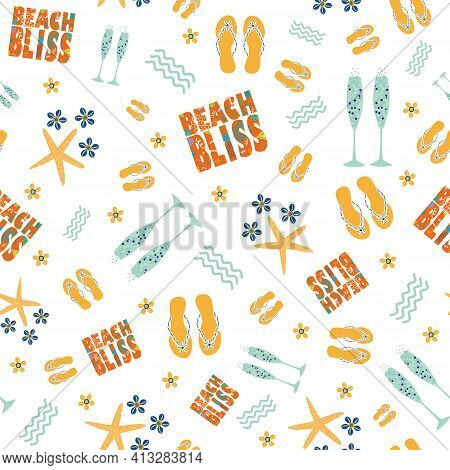 Beach Bliss Typography, Champagne, Flip Flop Vector Seamless Pattern Background.tropical Color Text,