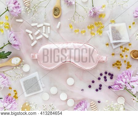 Flat Lay Composition With Mask For Sleep, Sleeping Pills At Once, Vitamins, Dietary Supplements