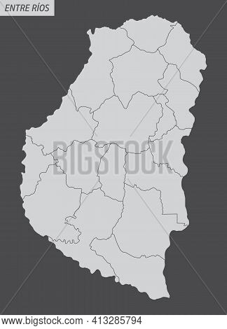 The Entre Rios Province Isolated Map Divided In Departments, Argentina