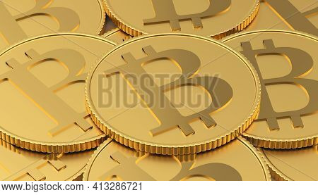 Heap Of Gold Bitcoin Coins. 3d Illustration